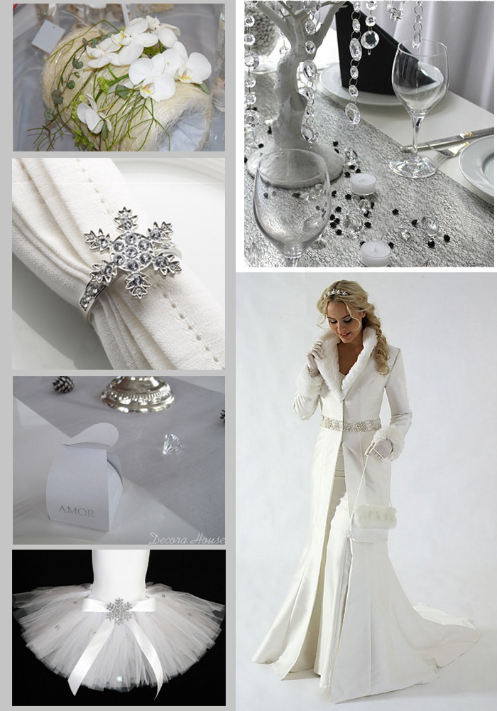 Winter elements in wedding decoration white silver and diamonds white junglespirit Choice Image