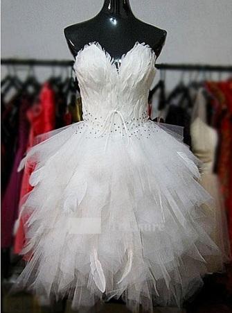 Swan lake wedding dress wedding destination colombia for Short feather wedding dress