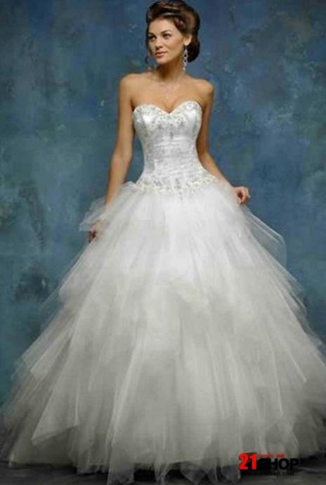 Tull ball gown wedding dress