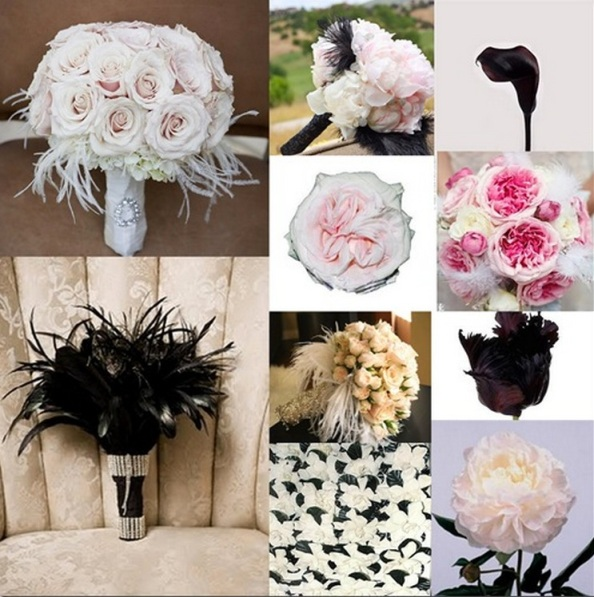Feather in wedding bouquett