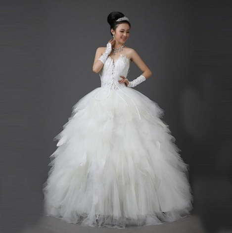 Princess feather ball gown wedding dress