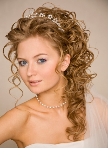 Curly Romantic Hair Dramatic Wedding Hairstyle