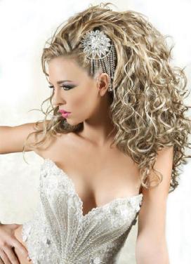 fancy long hair wedding style