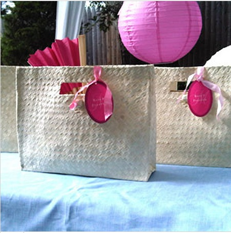gift bags palm tree wedding guests