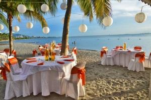 Latino wedding on caribbean beach