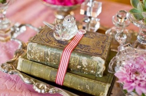 old books wedding decoration
