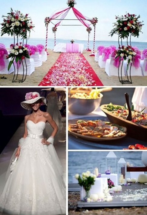 pink beach wedding altar