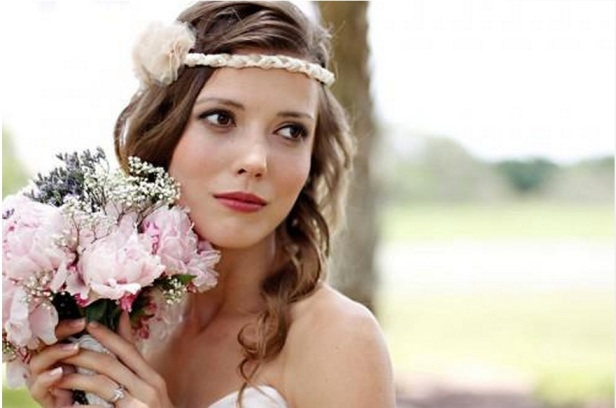 pink vintage bride flower hair