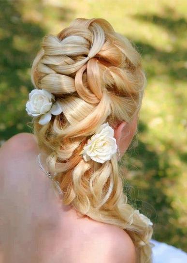 romantic long hair wedding style
