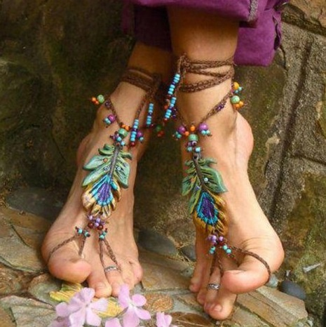 Colombian artisan beach jewlery sandals