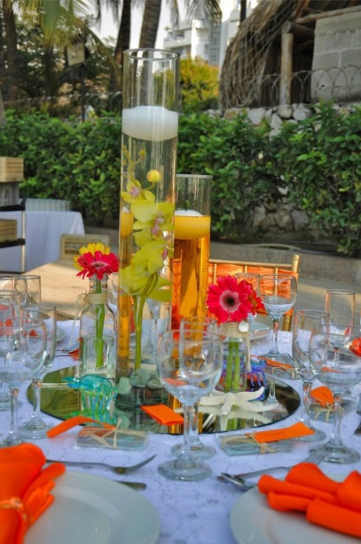 Colored water beach wedding decoration