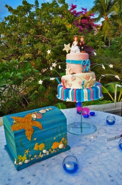 Funny beach wedding cake