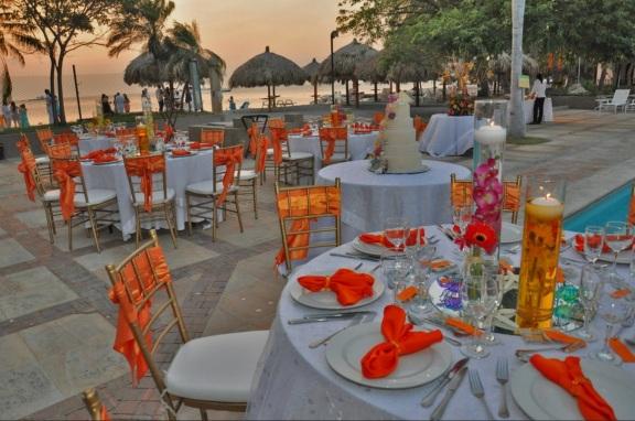 Orange beach wedding theme