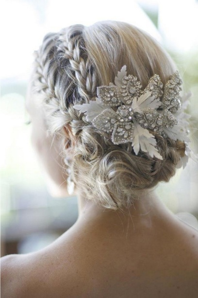 winted wedding hairstyle with crystals