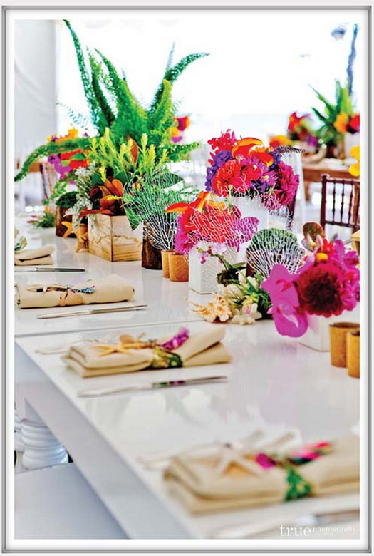 Exotic beach wedding flowers