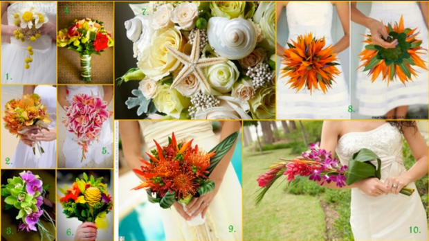 Tropical beach wedding flower bouquet bride